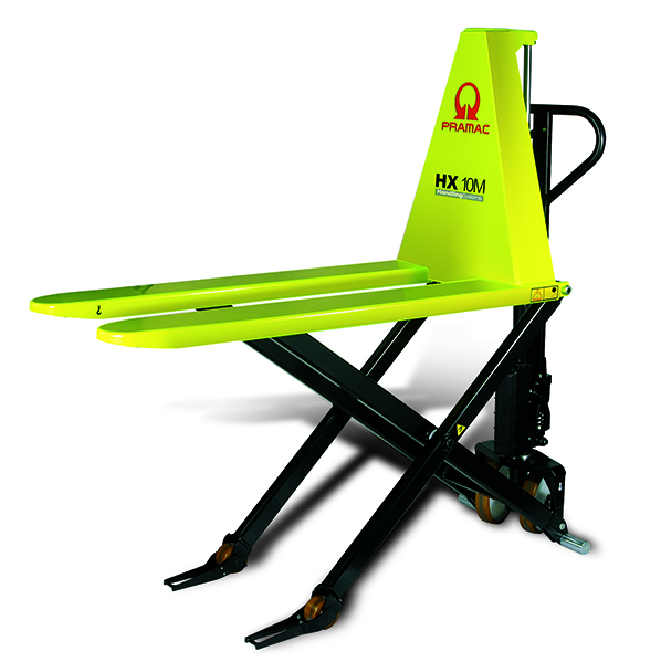 This is an example of a neon yellow electric pallet jack.